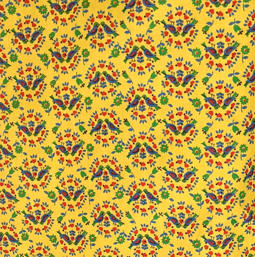 1970's Yellow with Lovebirds Print Fabric