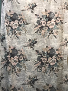1950's Floral in Vases Barkcloth - Cotton