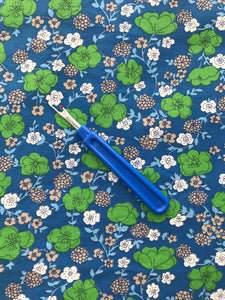 1960's Mod floral fabric in Blue, White and Green - Cotton blend
