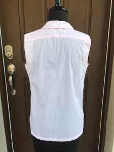 1960's Sleeveless Light Pink Button Up Blouse - Dacron (no iron cotton blend) - Bust 34""
