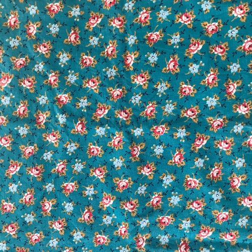 1950's Teal fabric with Red Roses and Teal flowers - Cotton