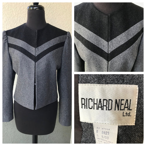 1980's Richard Neal Grey and Black Color block jacket - Wool Blend - Bust 35""