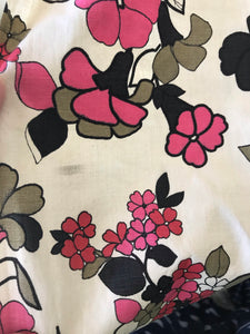 1940's Butter color with Black and Pink Cotton fabric
