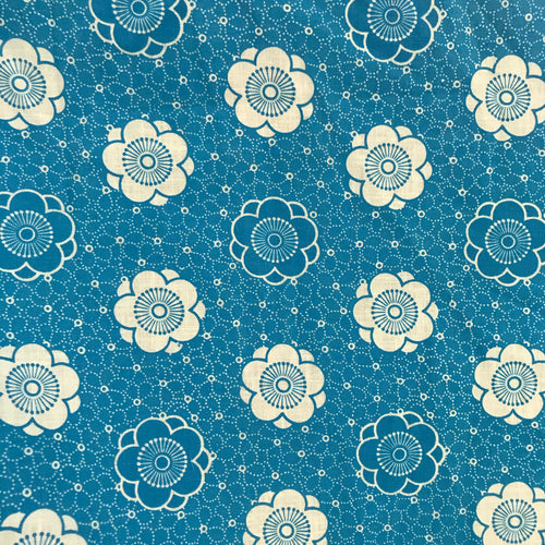 1960's Blue fabric with floral print - Cotton