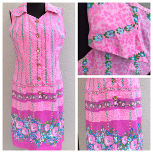"Bust 38"" - 1960's Floral Border Print Shift Dress with"