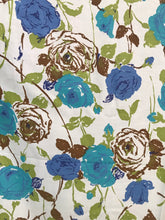 1960's Blue Rose Print - Cotton