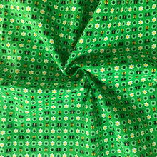 1960's Green fabric with ladybugs and Butterflies - Cotton
