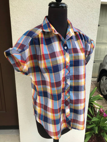 1970/80's Koret City Blues Plaid Button up shirt with Yoke - M/L