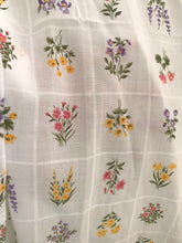 1970's Floral in white squares by Concord - Cotton blend