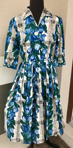 "Bust 36"" - 1950's or early 1960's Handmade Fit and Flare Shirtwaist Dress with pleated skirt"