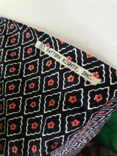 1970's Oversize Border Print Floral on Black