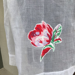 1950's White with Rose appliqué apron - Half Apron - Organdy