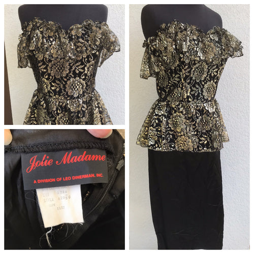 1980's Jolie Madame Strapless Black Sweetheart Dress with Gold And Black Lace overlay - XS/S