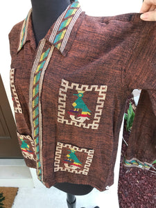 1970's South American Tourist Button up Shirt - Cotton - Embroidered