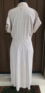 1940/50's Apex Brand Rayon Dress Black and white oval design - M/L - Rayon