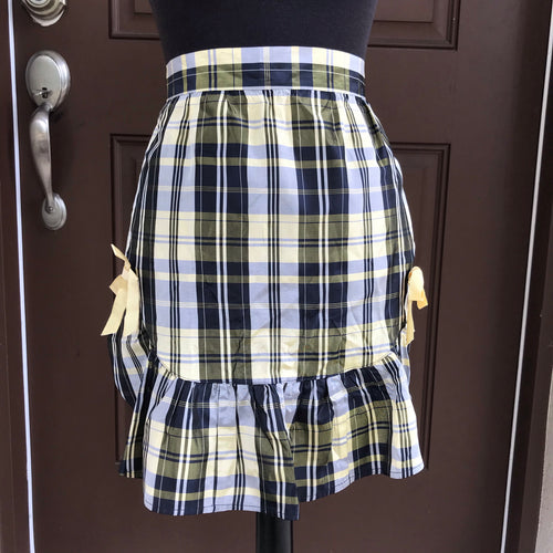 1960's Yellow and Black Plaid - Half Apron - Taffeta
