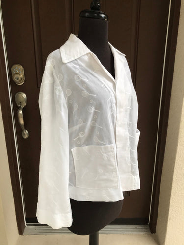 1970's White Embroidered light jacket with Tennis racquets and Tennis balls - Med.