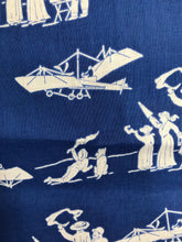 1960's Historic airplane, bystanders and dog print fabric Blue/white by Peter Pan Fabrics