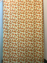 1950's Fabric - Butter color with Orange Butterflies - Cotton broadcloth