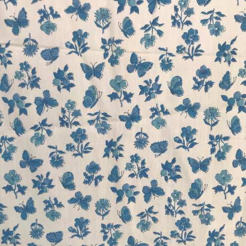 1960's White fabric with Blue prints (butterflies, oranges, and flowers) - Cotton