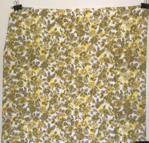 1970's Yellow Abstract Leaves - Poly rayon