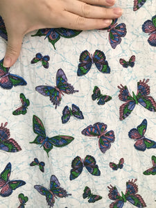 1950's Rainbow Butterflies on white with blue veining fabric - Cotton