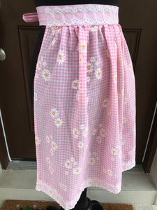1960's Pink Gingham with Daisies - Half Apron - Cotton