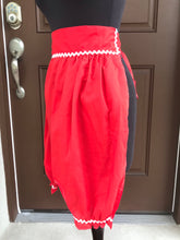 "1970's Red ""Bloomers"" - Half Apron - Cotton blend"