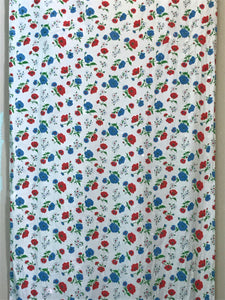 1950's Cotton Flannel with red and blue floral design