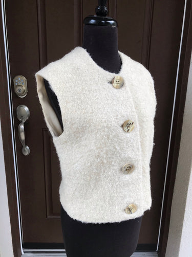 1960's Cream color wool vest with large buttons - Susan Thomas