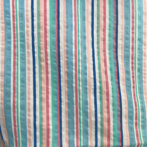 1970/80's Pastel seersucker striped fabric - Cotton Blend (soft material)