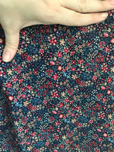 1960/70's Blue cotton blend with Mustard and Pink Flowers