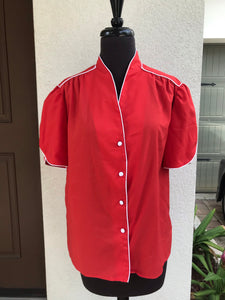 1980's Josephine Red with White Trim and Petal sleeves Blouse - M/L