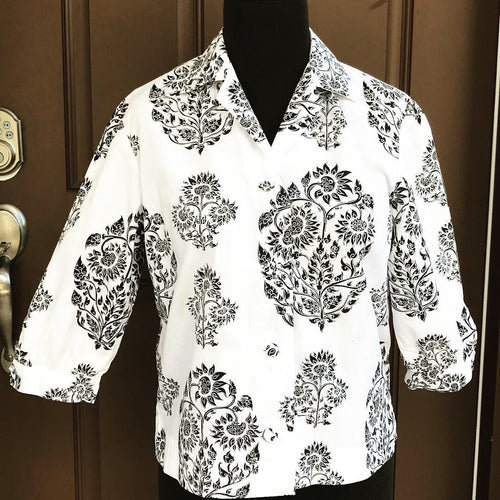 "Bust 37"" - 1970's Cotton button up Shirt with Intricate design"