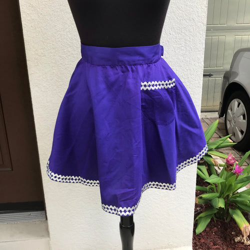 1960's Purple with Silver Rick Rack - Half Apron - Cotton