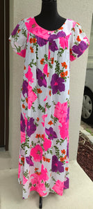 1960's Alice Polynesian Pink and Purple Floral Barkcloth MuuMuu - L/XL
