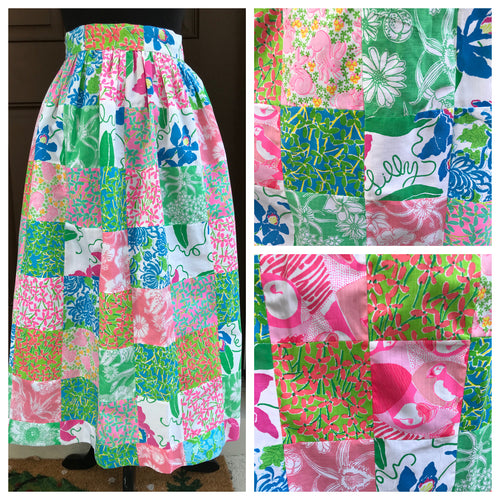 1970's Lilly Pulitzer Bright Patchwork Skirt - Cotton - XXS/XS