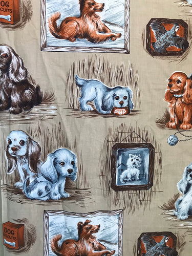 1950's Puppy dog fabric in dog house tan background