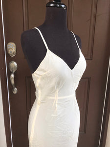 1940's Long Slip - Cream - Rayon blend - Bust 32-34