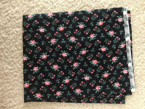 1960's Black Cotton with Pink Roses