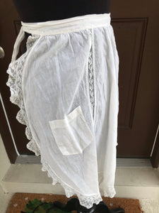 1930's White with inset lace - Half Apron - Cotton Lawn
