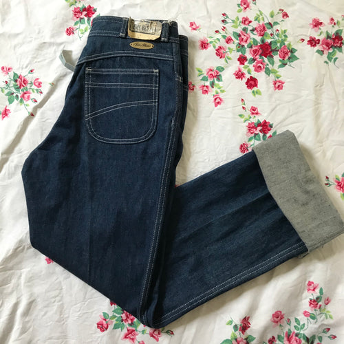 1970/80's High-waisted Deadstock Dark Wash Jeans with rolled cuffs or straight legs - M/L