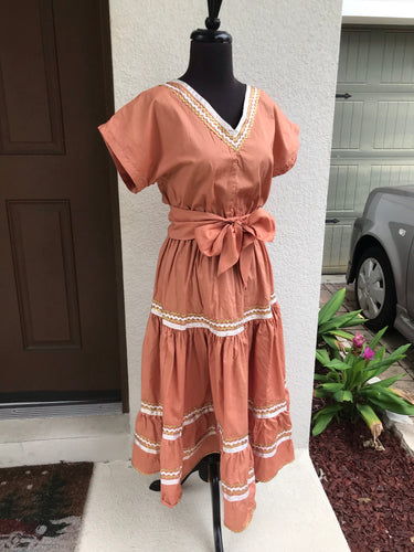 1970's Deep Peach Patio dress with white and gold trim - Med