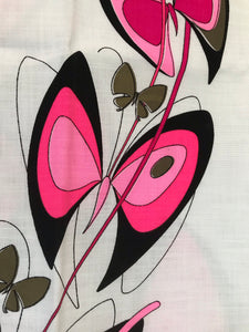 1960's Alfred Shaheen Pink Butterfly Print shift panels