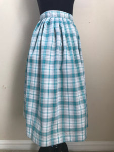 1950's to early 1960's Handmade Blue Plaid skirt with silver thread XXS