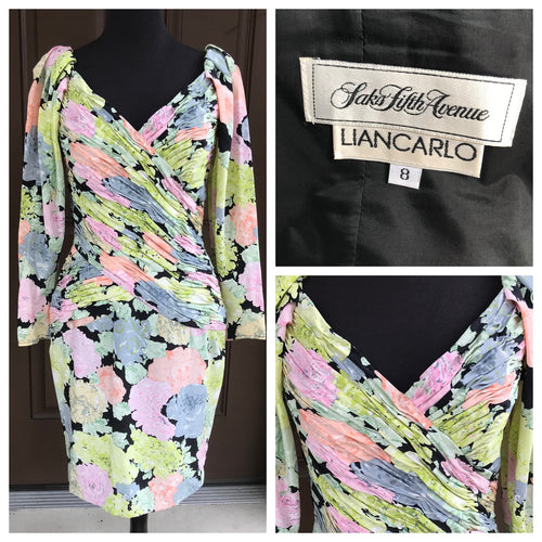 1980's Liancarlo for Saks Fifth Avenue Floral Silk Dress with Gathered Bodice  - S/M