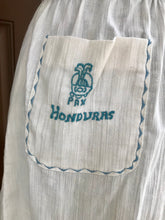 "Bust 42"" - 1970's Honduras Tourist Embroidered Dress with Pocket and Belt"