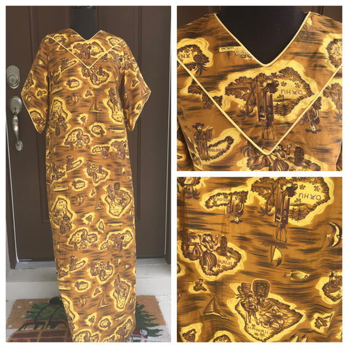 1960's Gold and Brown Hawaiian Print MuuMuu - S/M