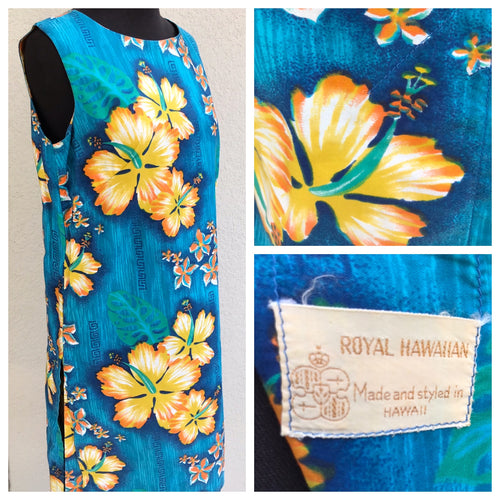 1960's Royal Hawaiian Blue Shift with Yellow Floral - Cotton - S/M