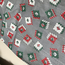 1950's Grey with Red and Green Designs - Feedsack - Cotton
